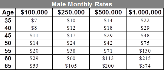 Sample life insurance rates male